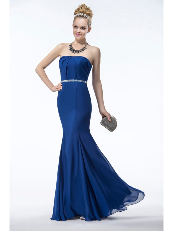 Stunning Mermaid Floor-Length Beading Strapless Ruffles Bridesmaid Dress