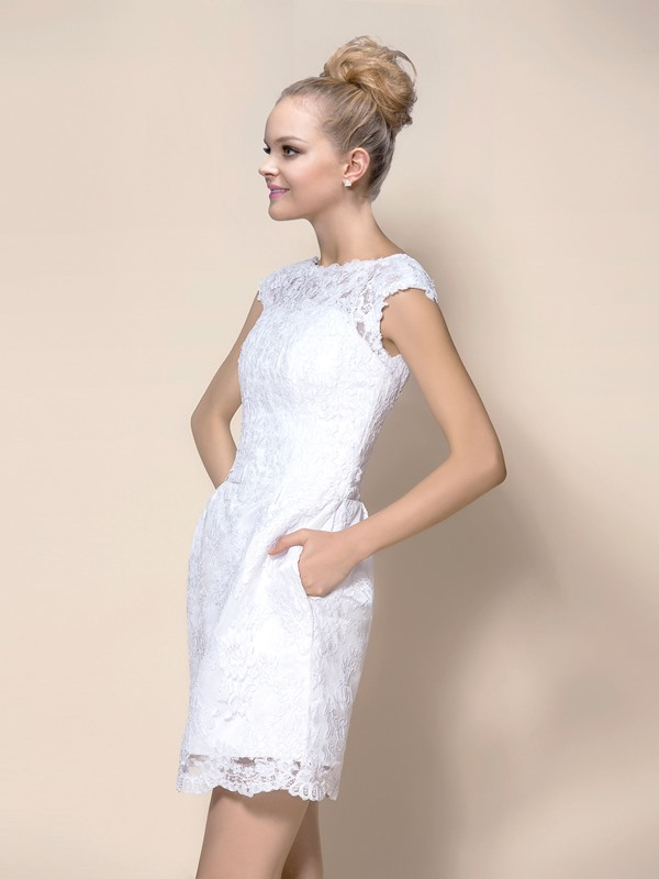 Pretty Scoop Neck Sheath Short White Lace Wedding Dress
