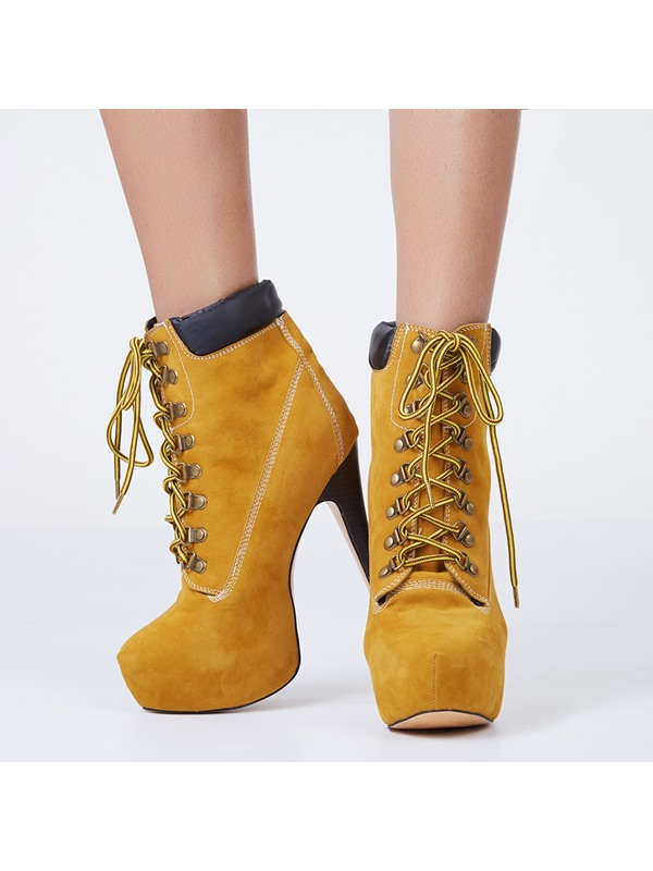 Fashion 2014 Camel Eyelet Lace-Up Pattern Ankle Boots