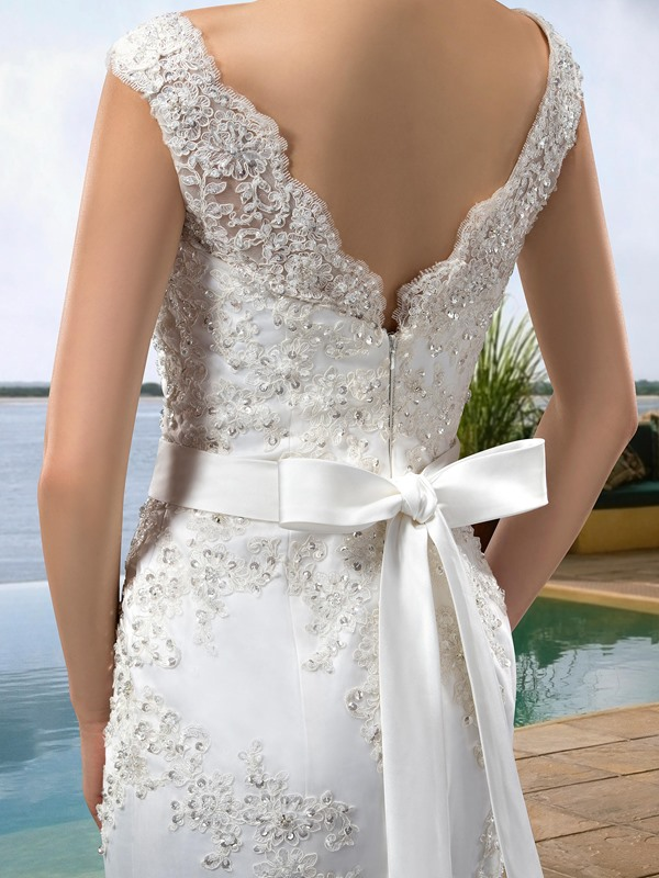 Simple Style V-Neck Zipper-Up Floor-Length Beading Trumpet/Mermaid Wedding Dress(Free Shipping)
