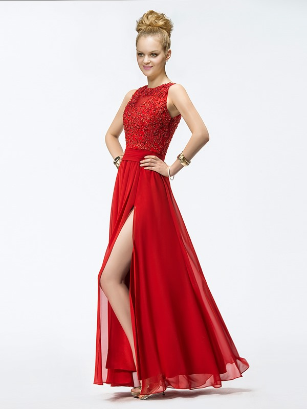 Brilliant A-Line Appliques Split Front Floor-Length Prom Dress
