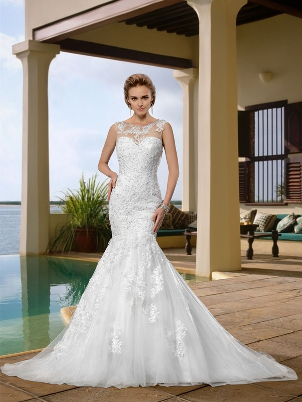 Gorgerous Sleeveless Appliques Scoop Neck Trumpet Wedding Dress(Free Shipping)