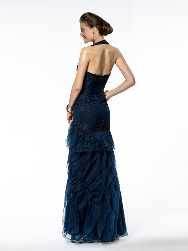 Trumpet/Mermaid Floor-Length Halter Appliques Zipper-up Evening Dress