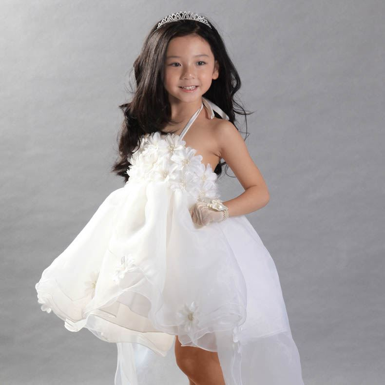 Cute Court Train Flower Asymmetry Halter Flower Girl dress