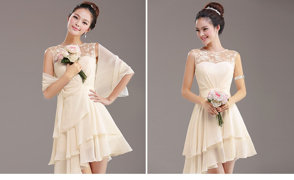 Simple A-Line Lace Jewel Neck Lace Up Asymmetry Bridesmaid Dress(Free Shipping)