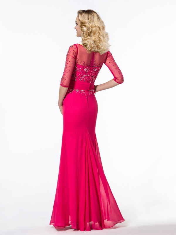 Gorgeous Trumpet Half Sleeves Beading Bateau Neckline Long Evening Dress