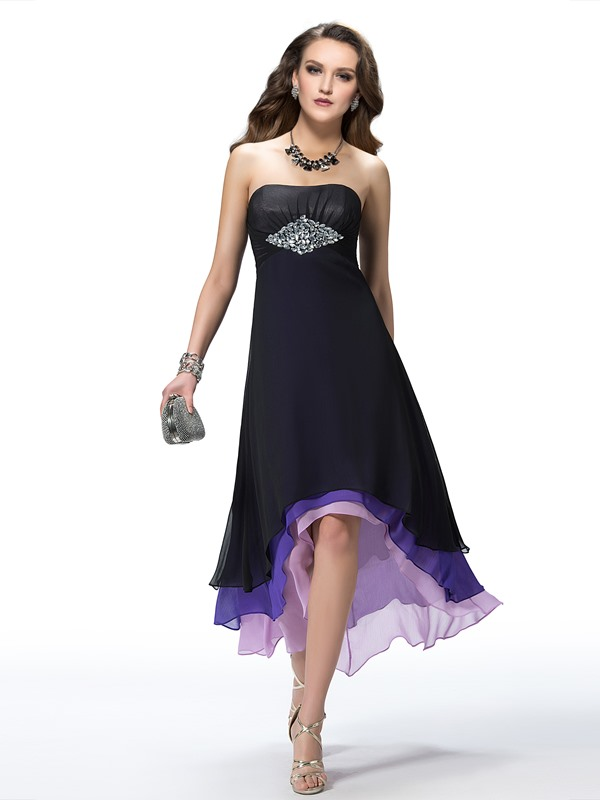 Amazing A-Line Asymmetry Tiered Beading Empire Party Dress Designed