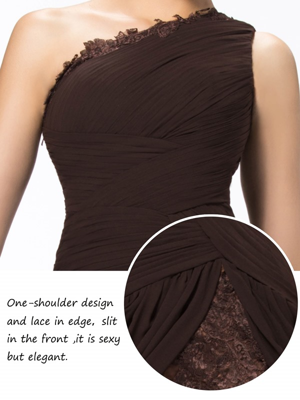 Cool One Shoulder Ruffles Appliques Split-Front Floor-Length Evening Dress (Free Shipping)