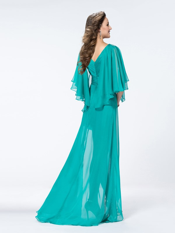 Simple Style Half-Sleeves V-Neck Split-Front Sweep Train Zipper-up A-Line Evening Dress