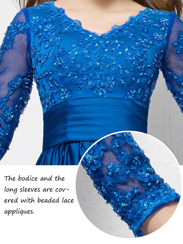Charming Beaded Lace Appliques V-Neck Half-Sleeve Long Mother of the Bride Dress(Free Shipping)
