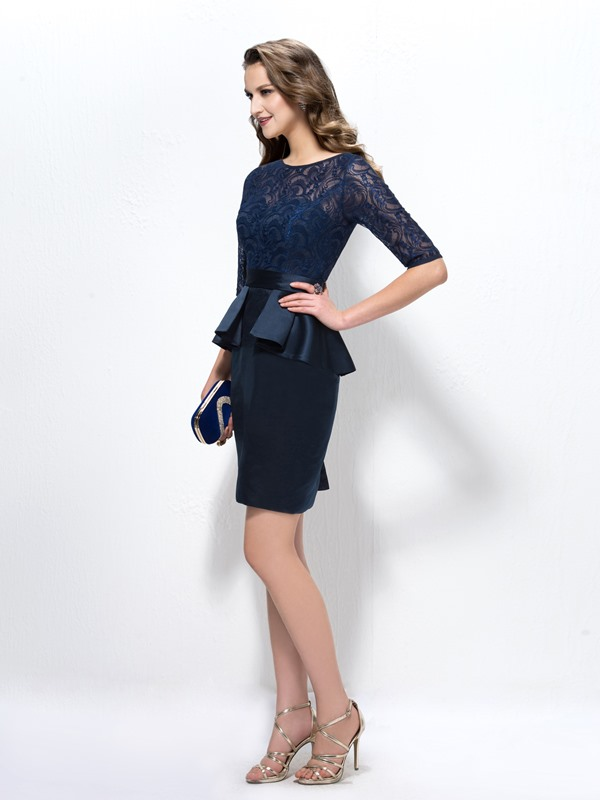 Timeless Lace Half Sleeve Column Short Mother of the Bride Dress