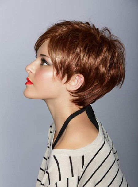 Custom Sassy Pixie Haircut 100% Human Remy Hair Monofilament Top Cap Wig about 8 Inches