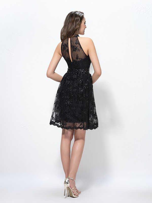 Stunning High-Neck Lace Beading Knee-Length Cocktail Dress Designed