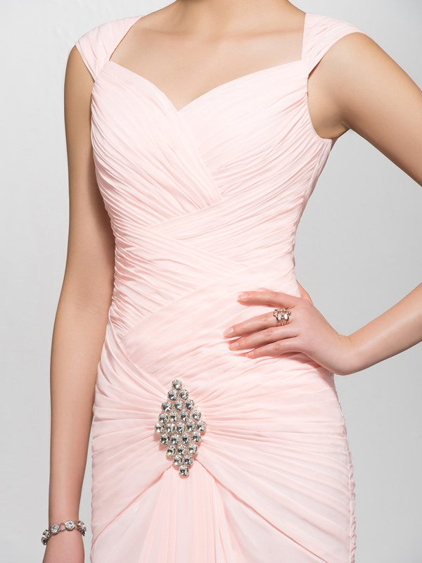 Elegant Mermaid Sweetheart Crystal Straps Ruched Floor-Length Evening Dress