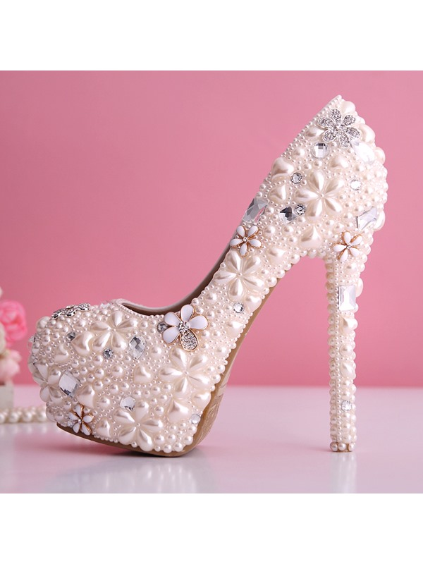 Luxurious Baby Pink Pearl Closed Toe Stiletto Heel Wedding Shoes