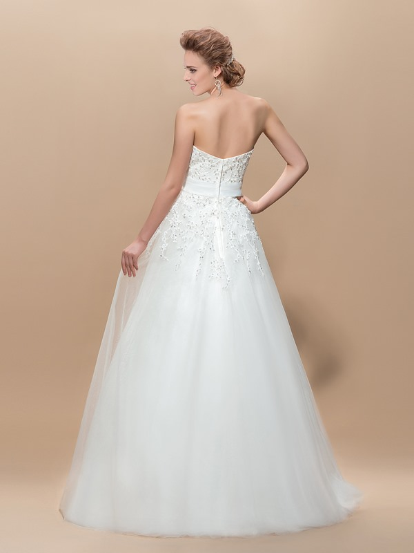 A-Line Appliques Sequins Floor-Length Wedding Dress(Free Shipping)