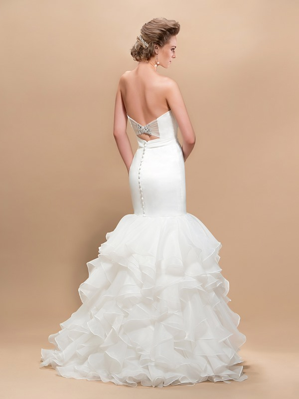 Attractive Sweetheart Trumpet Pleats Button Floor-Length Wedding Dress(Free Shipping)
