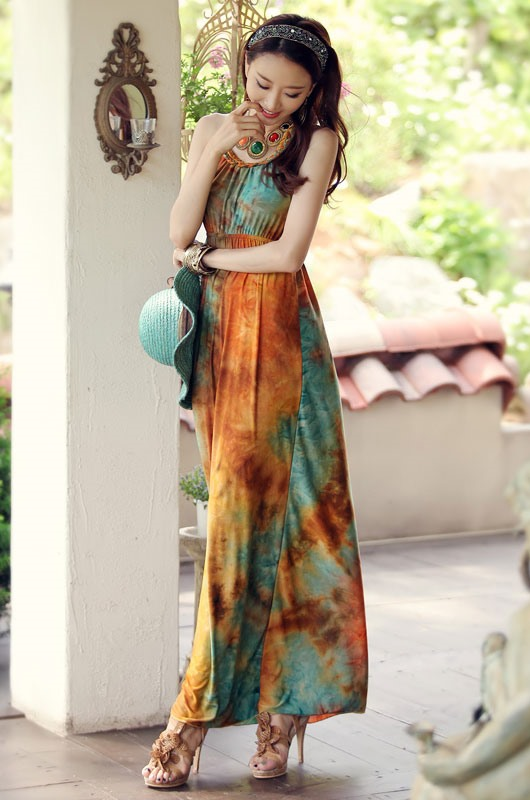 Classic Bohemian Style Braided Neck Maxi Dress