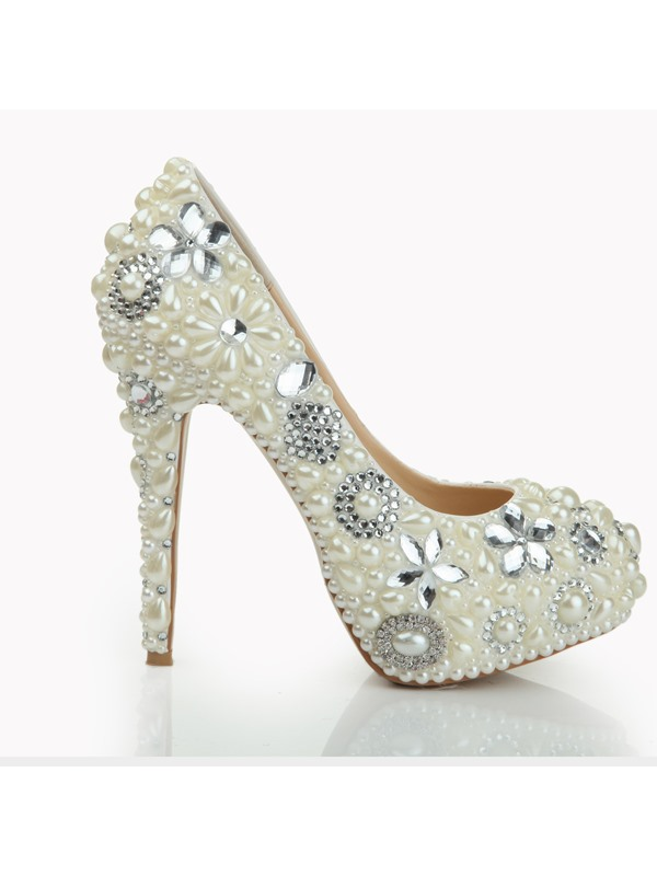 Elegant Diamond Pearls High Heel Wedding Shoes