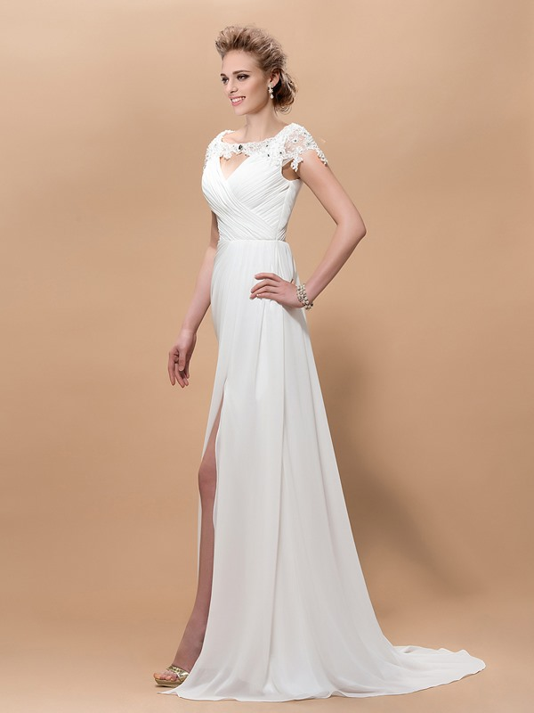 A-Line V-Neck Appliques Cap-Sleeves Split-Front Sweep Train Floor-Length Evening Dress
