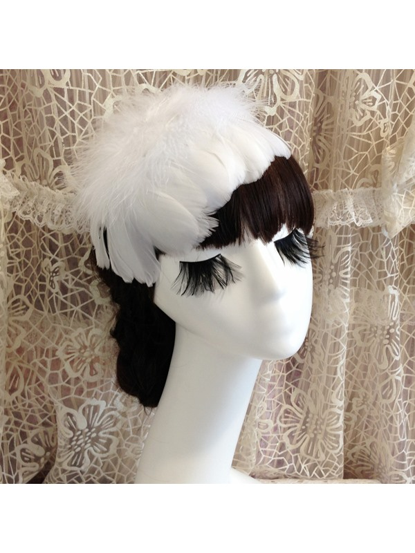 Eye-catching White Feather Bride Hair Flower