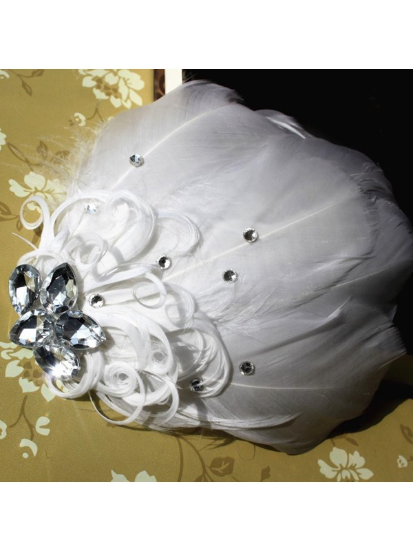 Luxurious White Feather Bride Hair Flower