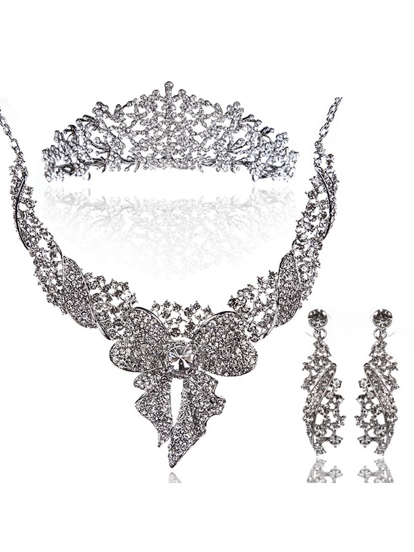 Luxurious Rhinestone Bowknot And Alloy Wedding Jewelry Set(Including Necklace,Tiara and Earrings)