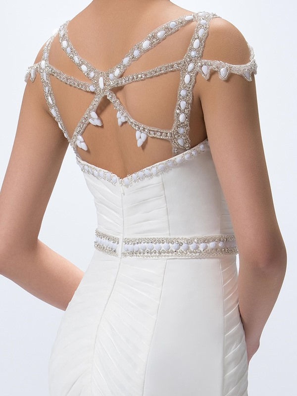 Gorgeous Beaded Criss-Cross Straps Sweep Train Trumpet Ruched Floor-Length Evening Dress