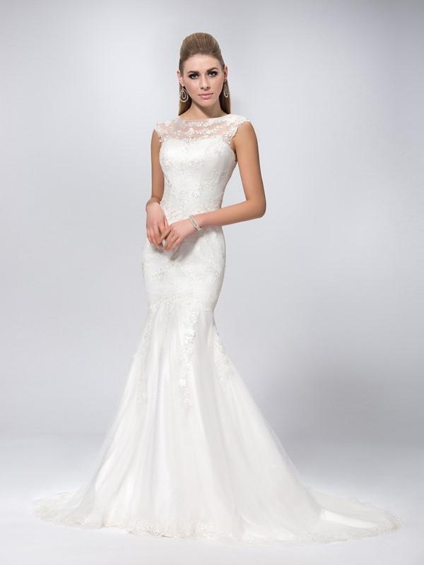 Sexy Scoop Neck Chapel Train Mermaid Lace Wedding Dress(Free Shipping)