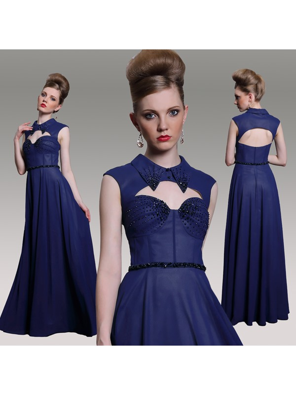 Unique Design with Collar Sweetheart Neckline Zipper-Up A-Line Floor Length Prom/Evening Dress
