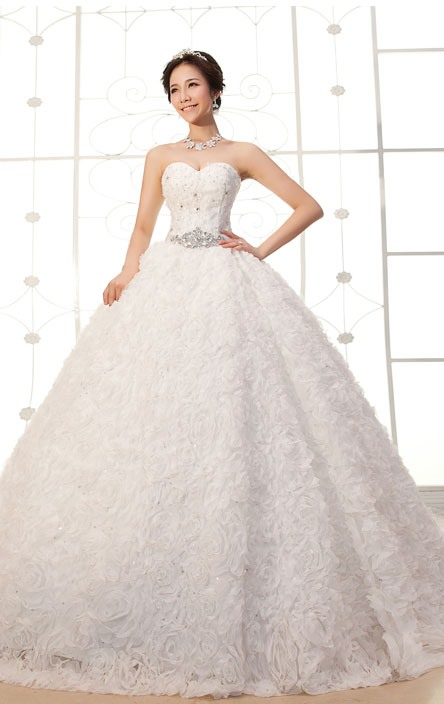 Luxurious A-Line Floor-length Flower Sweetheart Lace-up Beading Wedding Dress(Free Shipping)