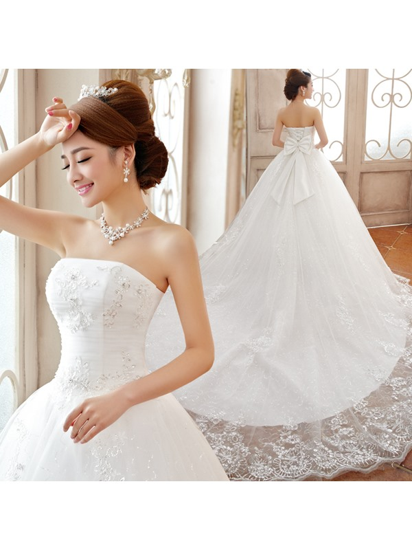 Luxurious Strapless Floor-length A-Line Lace-up Wedding Dress(Free Shipping)