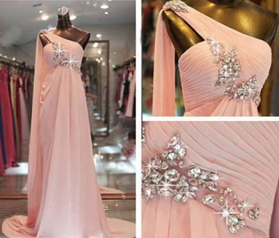 Gorgeous A-Line Crystal One-Shoulder Pleats Long Sweep Train Evening Dress