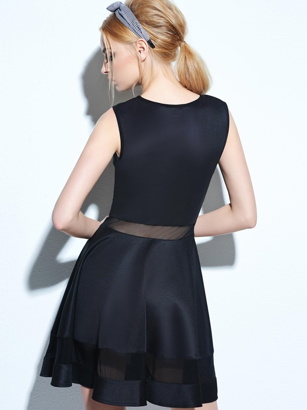 Perfect Mesh Panel Club Skater Dress