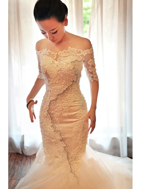 Stunning Off-The-Shoulder Appliques Beadings Half Sleeves Wedding Dress(Free Shipping)