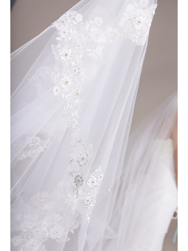 New Cathedral Train Long Wedding Veil, Tulle Bridal Veil