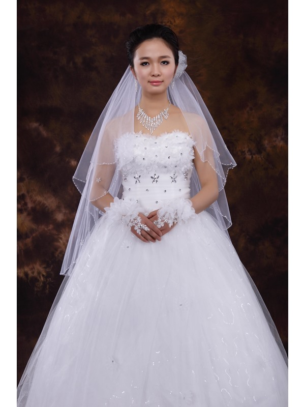 Shinning Beading Two Layers Wedding Veil With Small Comb