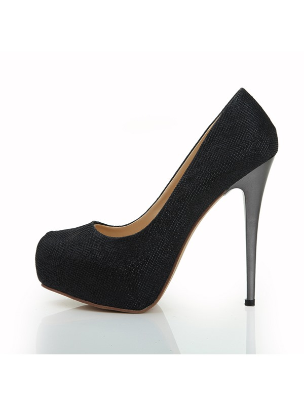 Classic Solid Color Black Stiletto Heel Closed-Toe Pumps