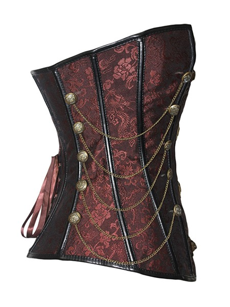 Bright Dark Red Chain Cross Lace-Up Overbust Corset