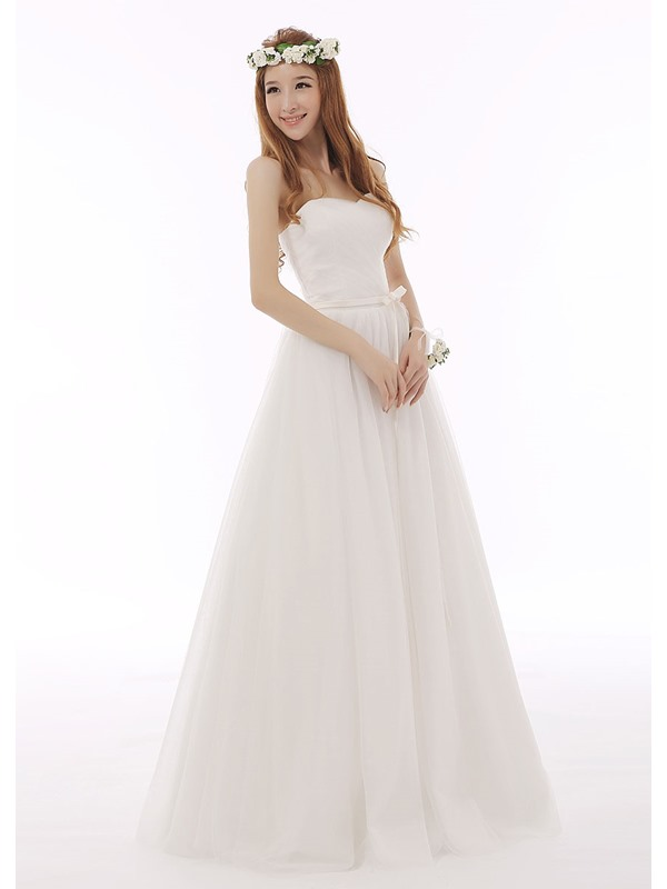 Simple Elegant Stapless Floor-Length Lace-Up Sashes Bowknot Wedding Dress(Free Shipping)