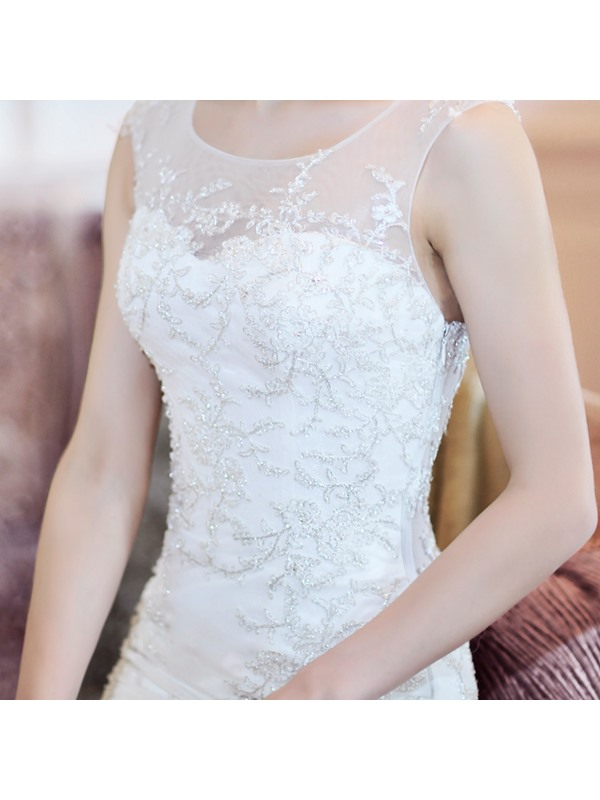 Sexy Mermaid/Trumpet Floor-length Jewel Chapel Train Wedding Dress(Free Shipping)