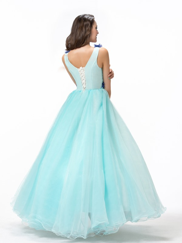 Flowers Beading Lace-up Floor-Length Quinceanera Dress