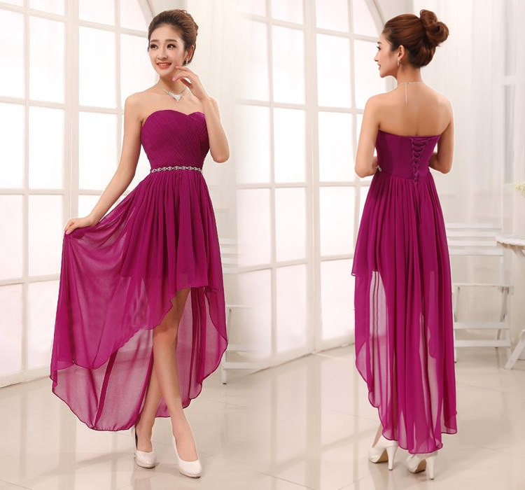 Most popular Sweetheart Asymmetry Rhinestone Lace-Up Sashes Bridesmaid Dress(Free Shipping)