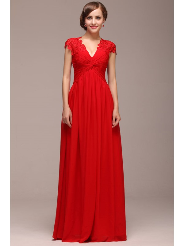 Graceful A-Line Lace V-Neck Cap Sleeves Floor-Length Lace-up Evening Dress