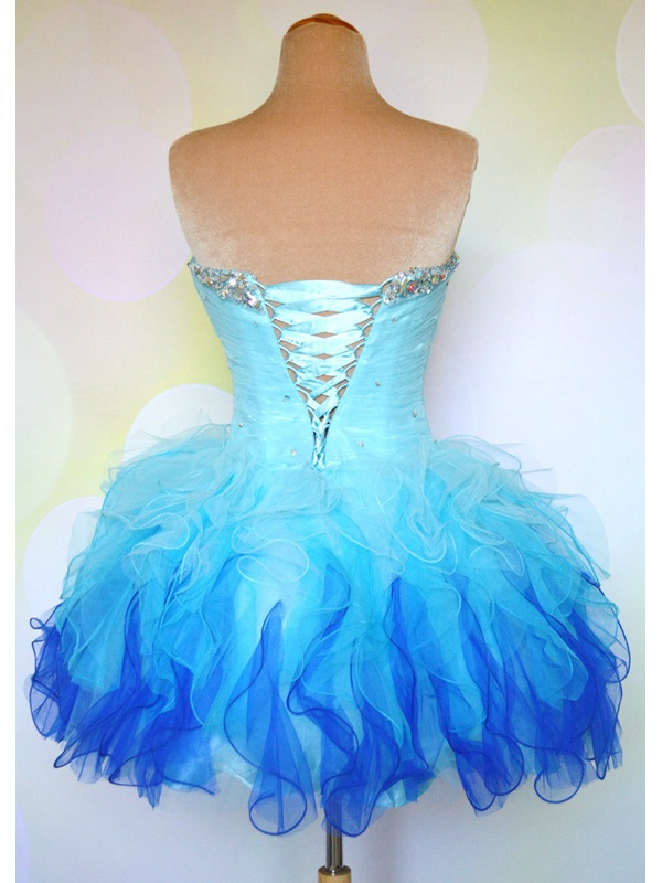 Pretty Sweetheart Beading Ruffles Lace-up Short Homecoming Dress(Free Shipping)