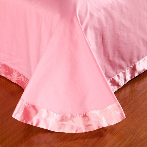Unique Pink Flowers Blossom Embroidery 4 Piece Bedding Sets