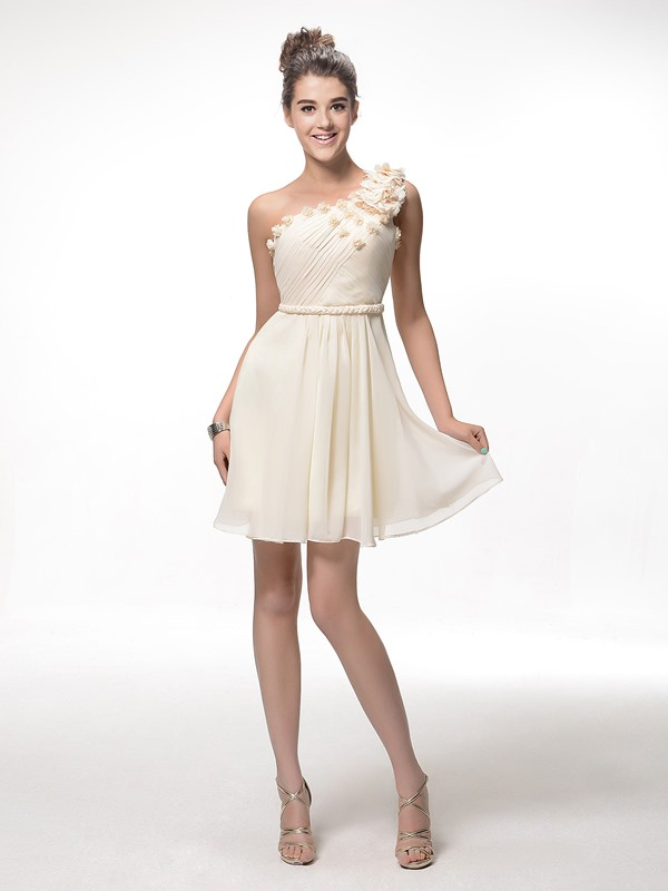 Enchanting A-Line Short-Length One-Shoulder Pleats Flowers Zipper-up Homecoming Dress