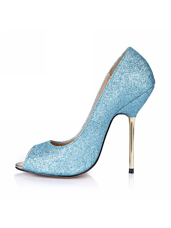 Sparkling Solid Color Sequin Peep Toe Stiletto Heel Pumps