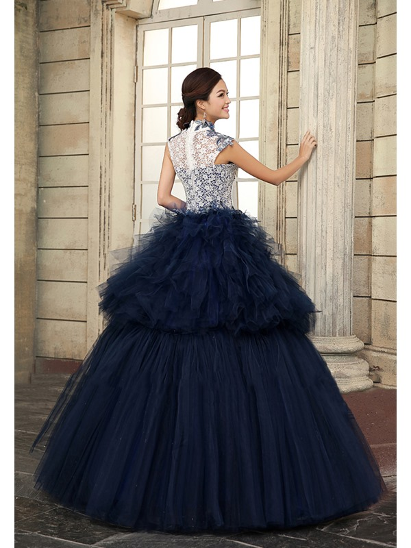 Vintage High Neck Appliques Ruffles Tiered Floor-Length Ball Gown Dress