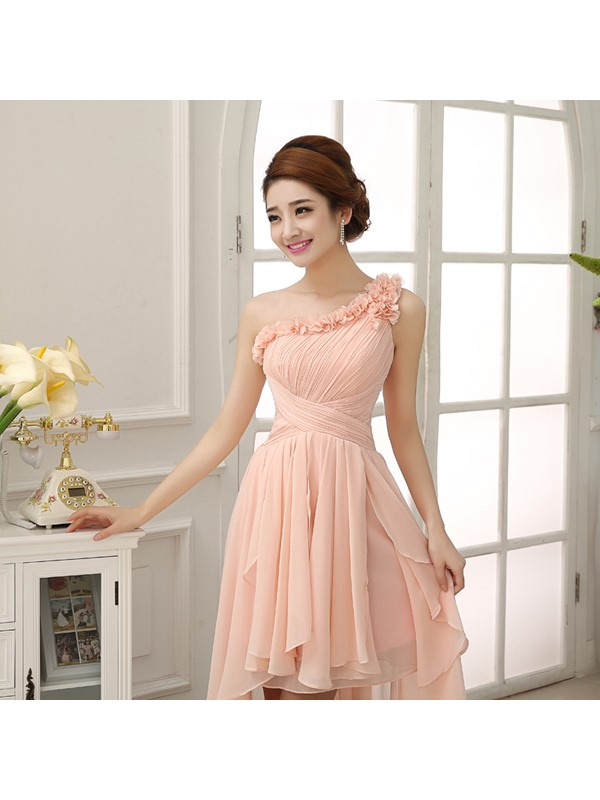Current One-Shoulder Ruched Flowers A-Line Asymmetric Prom Dress